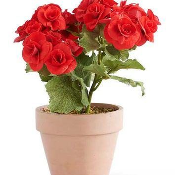 """Artificial Clay Pot of Red Begonias - 11"""" Tall"""