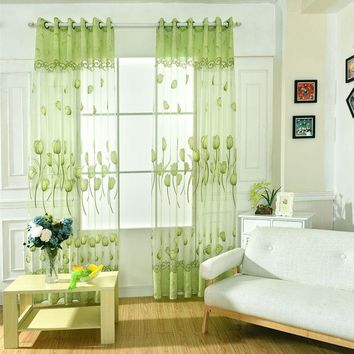 Curtains For Door Room Balcony Tulip Flower Sheers Panel Drapes Scarf Valance