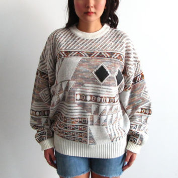 chunky slouchy sweater - 80s vintage geometric knit leather pattern jumper oversized pullover boho hippie cosby unisex mens womens one size