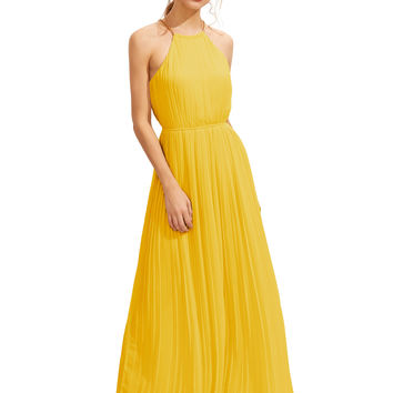 Yellow Halterneck Sleeveless Pleated Maxi Dress
