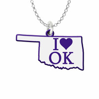 I Love Oklahoma Silver State Necklace with Color Accent