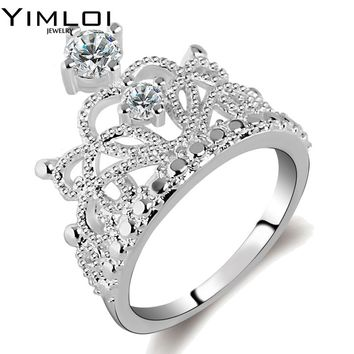 Jewelry Fashion 925 Sterling Silver Color AAAAA Zircon Crown Rings Cocktail Wedding Band Ring for Women RA022