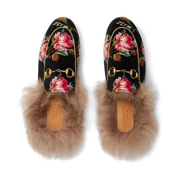 Velvet Rose Fur Mule by Gucci
