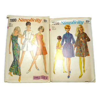 Two Vintage Simplicity Dress Pattern Jumpsuit 7000 7296 Size 16 Bust 36 1960's Retro Clothes Pattern