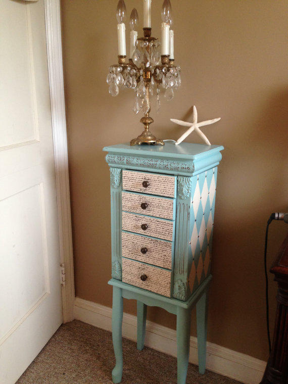 Large Upcycled Jewelry Armoire Hand From Colorfulhomedesigns On