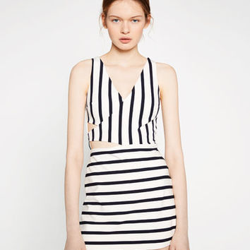 STRIPED JUMPSUIT DRESS