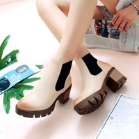 On Sale Hot Deal High Heel Waterproof Shoes Simple Design Casual Dr. Martens Boots [8866978252]
