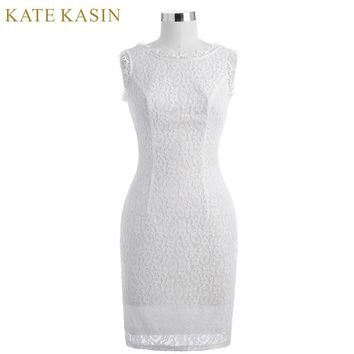 Kate Kasin White Short Cocktail Dresses knee length Lace Prom Dresses 2018 Sexy Slim Bodycon Robe de Cocktail Party Dress 1058
