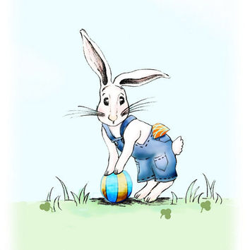 Play Ball Rabbit Childrens Art Print Boys Kids by wonderlaneart
