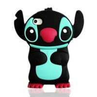 """Disney 3D Stitch Movable Ear Silicone Soft Case Cover for Iphone 4g/4gs- Black/Red"""