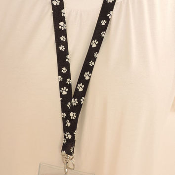 Paw Prints SAFETY BREAKAWAY LANYARD - Snap Hook Fabric id Badge Holder - Key Fob Lanyard - Eye Glasses Lanyard