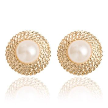 Golden Big Imitation Pearl Ear Cuff Jewelry Clip On Earring For Women