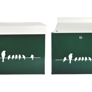 "17"" Birds on a Wire Mailbox, Green, Mailboxes"