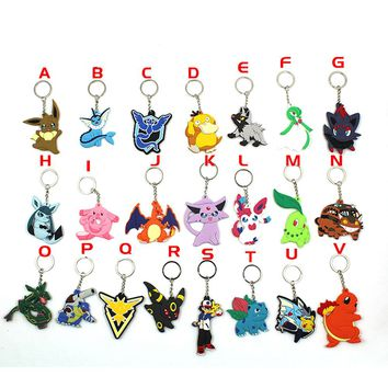 Game Pocket Monster Pokemon Eevee Vaporeon Espeon Psyduck Charizard Zapdos PVC Pendant Keychain Keyring Ornament Cosplay Gift