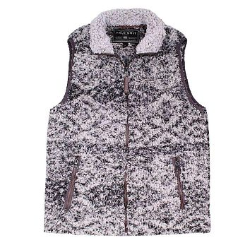 Frosty Tipped Double Up Tribal Vest in Charcoal by True Grit