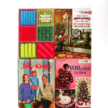 Vintage Knitting Booklet Lot, Set of 4, Coats & Clarks, American Thread, 1960's Instructional Craft Books, Knitting Crochet Techniques