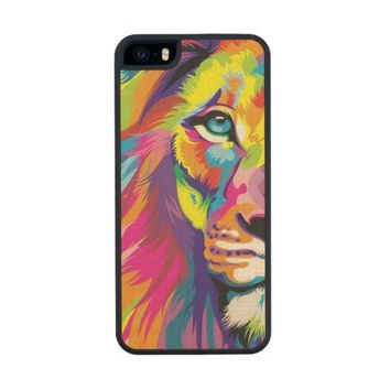 Colorful Lion Wood Phone Case For iPhone SE/5/5s