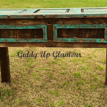 Handmade Old Door Style Rustic Buffet or Entry Table in Turq and Brown Stain