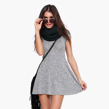 Textured Short Sleeves Skater Dress - Gray