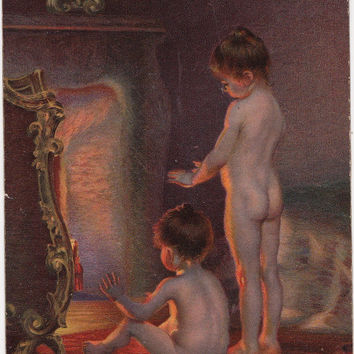 "Signed. Antique Postcard -- Paul Peel ""After Bath"" (Children near the fireplace) -- 1922"