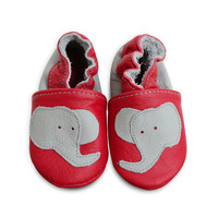 EBOOBA Childrens Red Elephant Leather Shoes