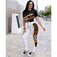 FENDI Summer Fashion Women Casual Print Short Sleeve Top Pants Set Two-Piece Sportswear Black