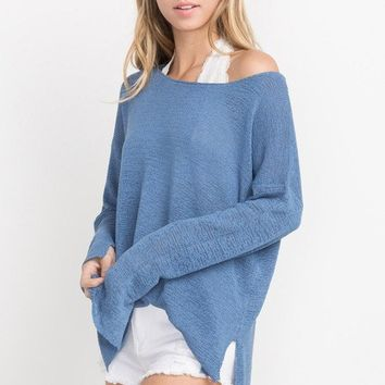 MILA LIGHTWEIGHT TOP - DENIM BLUE