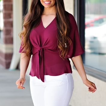 * Isnt She Lovely Textured Tie Front Top : Burgundy