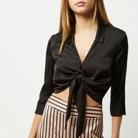 Black satin tie front cropped shirt - Shirts - Tops - women