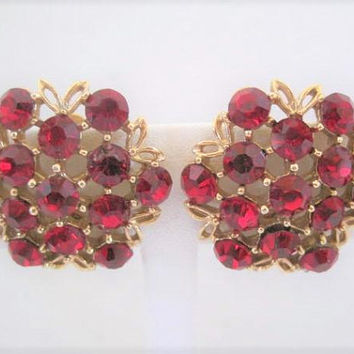 Weiss Red Earrings, Signed Weiss Clip Ons, Red Rhinestones, Gold Tone Setting