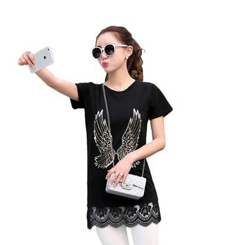 2016 New Fashion Short Sleeve Plus Size Long T-shirts Female Animal Print Appliques Lace T shirts Women Clothing Top 71049