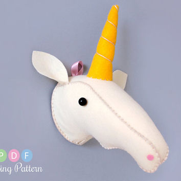 DIY Felt Unicorn Head, Plush Sewing Pattern PDF Digital Download
