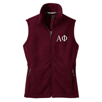 Alpha Phi Fleece Vest, Alpha Phi Zip Up Vest, Greek Apparel, Sorority Letters, Greek Fleece Vest, Officially Licensed Product