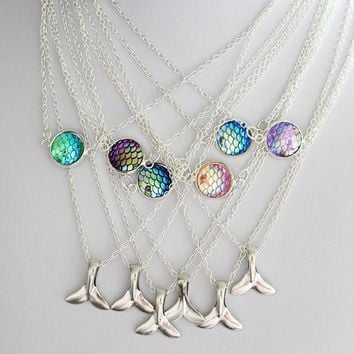 Double layer Mermaid Necklace fashion Fish scales Fish tail Pendant gift of love multicolor fish jewelry 1pcs