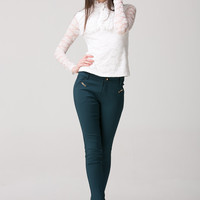 Lace Embroidered Long Sleeve Ruffled High Neck Shirt