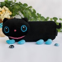 [Black Kitty] Large Plush Gadget Pencil Pouch Bag / Cosmetic Bag / Carrying Case (7.9*3.1*1.5)