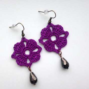 Purple Dangle Earrings, Crystal Jewelry, Crochet Earrings, Long Earrings, Romantic Gifts For Her, Lace Fabric Chandelier Earrings, Boho Chic