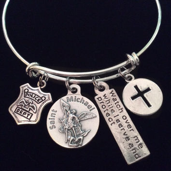 Police Serve and Protect Silver Saint Michael Archangel Expandable Charm Bracelet Patron Saint of Protection Inspirational Jewelry