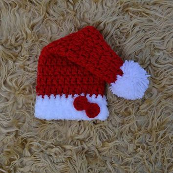 Christmas Baby Hat Red Crochet Newborn Christmas Hat Photo Prop