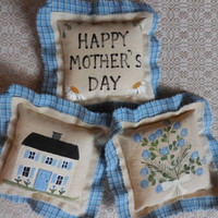 Primitive Folk Art Happy Mother's Day Flower Bouquet Home Pillow Tucks Handpainted