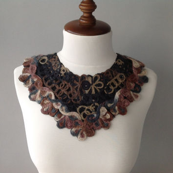 Felted necklace, bib statement, embroidered jewelry, gift for her, woman accessory