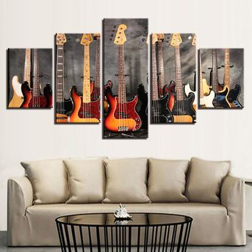 Canvas Wall Art: Bass Guitar Collage Wall Art on Canvas 5-Panel