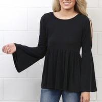 Cut Out Sleeves + Smocked Peplum Blouse {Black}