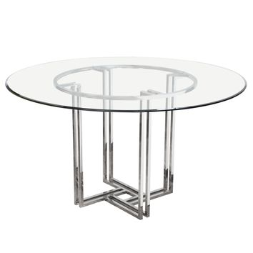 DEKO Polished Stainless Steel Round Dining Table w/ Clear, Tempered Glass Top