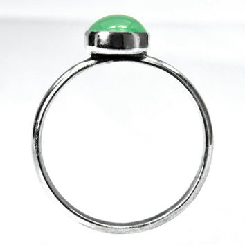 Silver Ring with Chrysoprase, Green Chrysoprase Cabochon in a Dainty Sterling Silver Stacking Ring