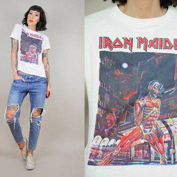 "IRON MAIDEN 80's Eddie T-shirt ""World Slavery Tour"" Concert Tee Graphic Novelty Heavy Metal xs / small"