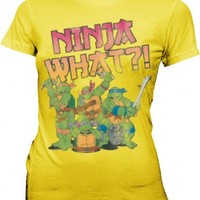TMNT Teenage Mutant Ninja Turtles Ninja What?! Yellow Juniors T-shirt