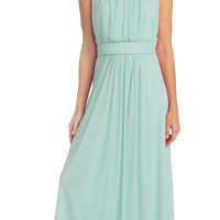 Semi Formal Long Mint Dress Sleeveless Bateau Neck Chiffon