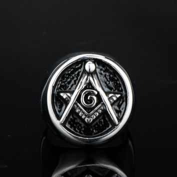 MQCHUN Vintage Freemason Symbol Masonic Rings Bands for Men Hip Hop Punk Freemasonry Wedding Ring Jewelry Feminino 2017 New Hot