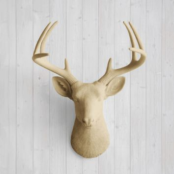 The Virginia Large Khaki Brown Faux Taxidermy Resin Deer Head Wall Mount | Khaki Brown Stag w/ Colored Antlers